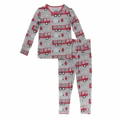 Kickee Pants - Print Long Sleeve Pajama Set in Feather Firefighter