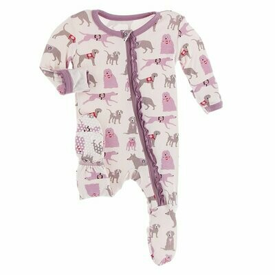 Kickee Pants - Print Muffin Ruffle Footie with Zipper in Macaroon Canine First Responders