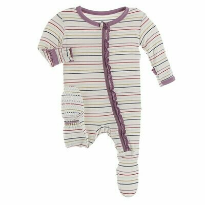 Kickee Pants - Print Muffin Ruffle Footie with Zipper in Everyday Heroes Multi Stripe