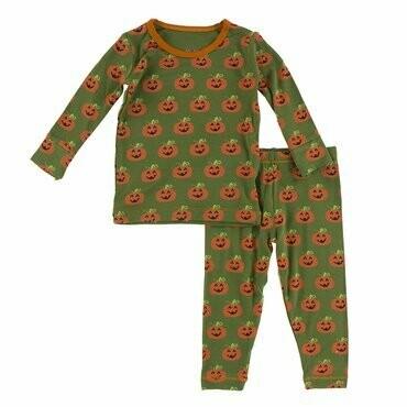 Kickee Pants Print Long Sleeve Pajama Set in Moss Jack O'Lantern