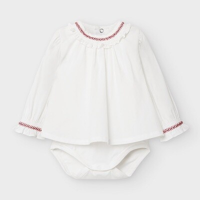 Mayoral Blouse Onesie - White with Red Trim