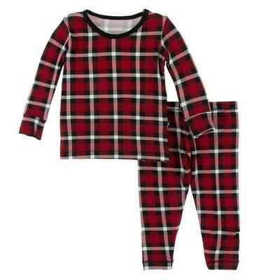 Kickee Pants Holiday  Plaid 2 Piece Set L/S Pajamas