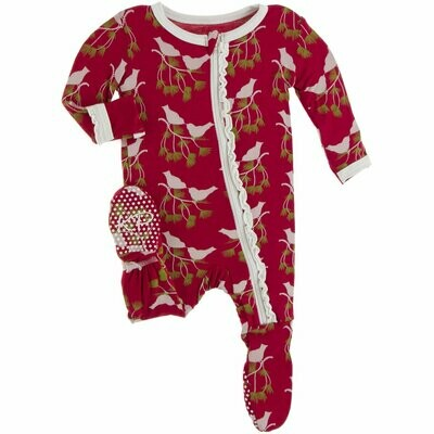 Kickee Pants Holiday Crimson Kissing Birds Zippered Footie