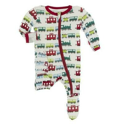 Kickee Pants Holiday Natural Toy Train Zippered Footie