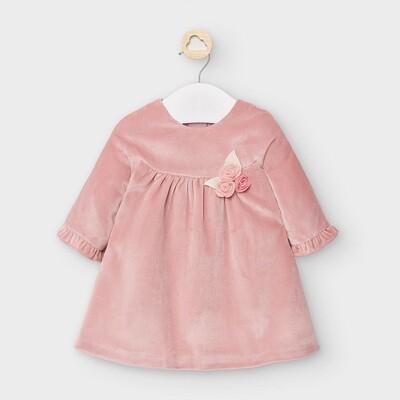 Mayoral Velvet Dress in Candy Pink