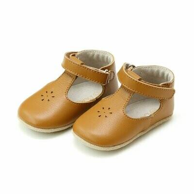 L'Amour Lisette T-Strap Mary Jane Crib Shoe (Infant) - Caramel