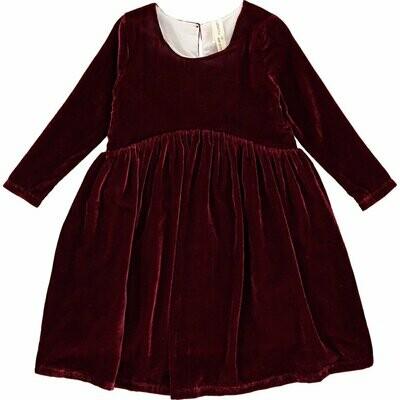 Vignette Velvet Burgundy Dress