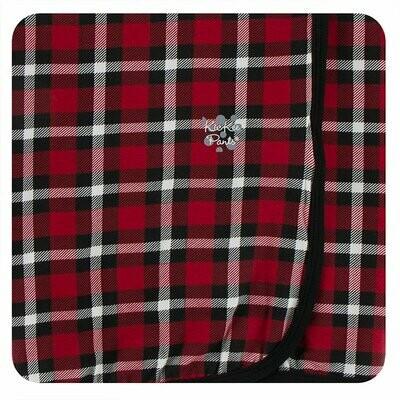 Kickee Pants Print Swaddling Blanket in Crimson 2020 Holiday Plaid