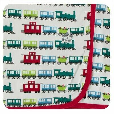 Kickee Pants Print Swaddling Blanket in Natural Toy Train