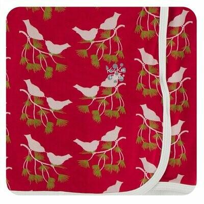 Kickee Pants Print Swaddling Blanket in Crimson Kissing Birds