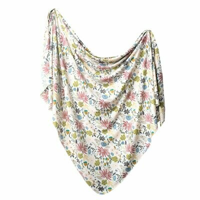 Copper Pearl Knit Swaddle Blanket - Olive