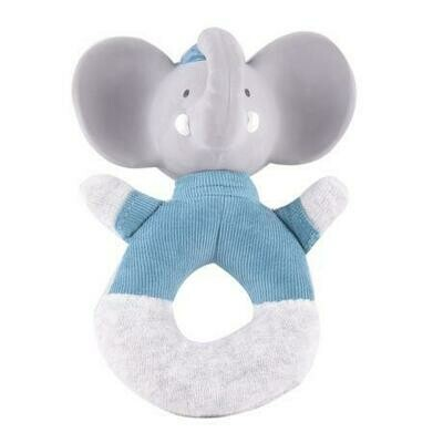 Tikiri Alvin the Elephant - Soft Rattle with Rubber Head