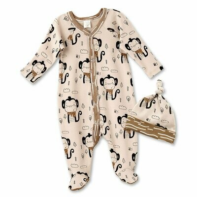 Tesa Babe Funky Monkey Footed Romper & Hat