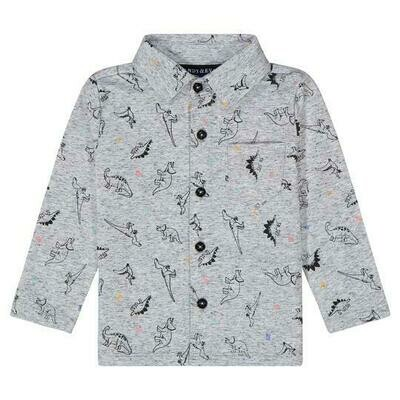 Andy & Evan Grey Dino Button Up