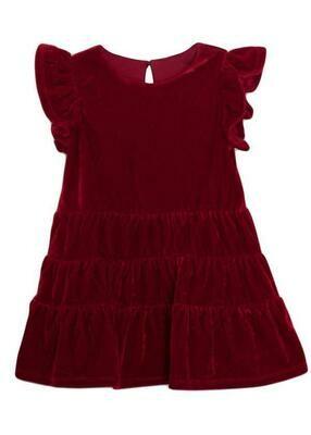 Isobella & Chloe Red Velvet Short Sleeve Dress