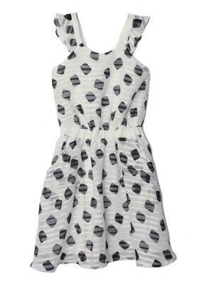 Isobella & Chloe Dress - White with Black Polka Dots