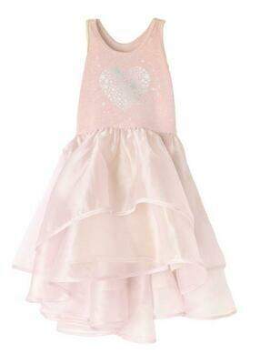 Isobella & Chloe Pink & Silver Hearts Dress