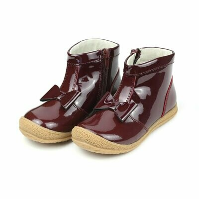 L'Amour Hilary Bow Boot - Patent Leather Burgundy