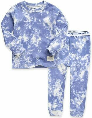Vaenait Baby - Soft Blue Tie Dye PJ Set