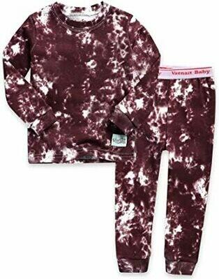 Vaenait Baby - Burgundy Tie Dye PJ Set