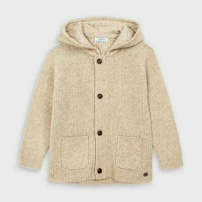 Mayoral Woven Knit Hoodie - Tan