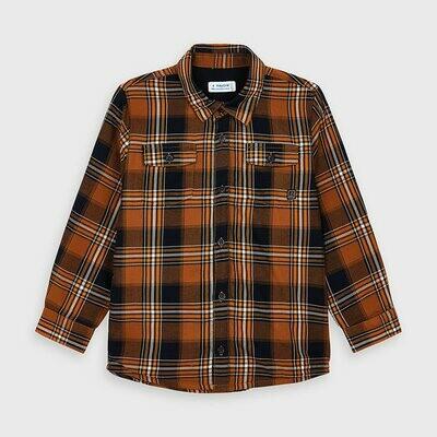 Mayoral Orange Plaid Button Up Shirt