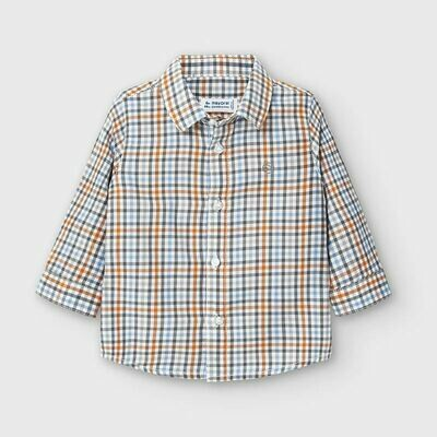 Mayoral Long Sleeve Button Up - Blue and Orange