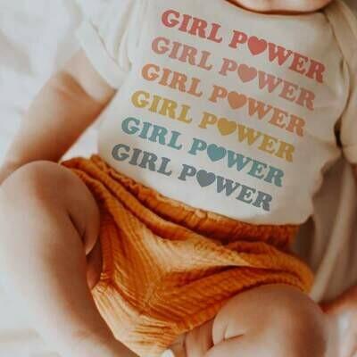 """Girl Power"" Rainbow Onesie"