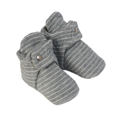 Robeez Cozy Snap Booties - Grey Stripe