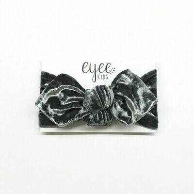 Eyee Top Knot Headband- Crushed Charcoal Grey Velvet