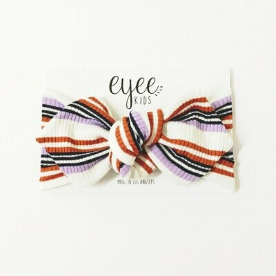 Eyee Top Knot Headband- Lavender/Rust Stripe (Ribbed Knit)