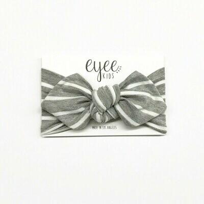 Eyee Top Knot Headband- Grey Stripes