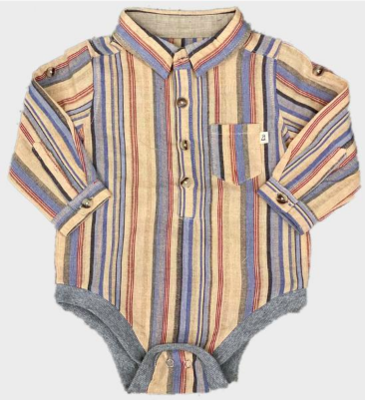 Me & Henry Multi Color Button Up Onesie
