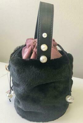 Doe a Dear Furry Buckle Bag - Black