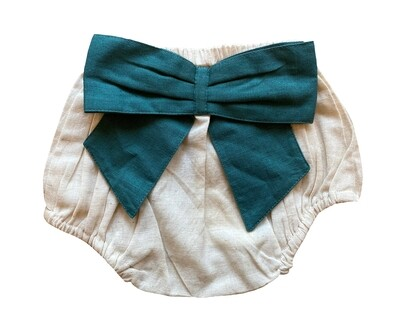 Yo Baby Bloomers - Natural with Teal Bow