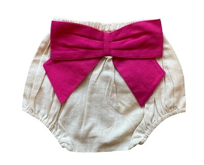Yo Baby Bloomer - Natural with Pink Bow
