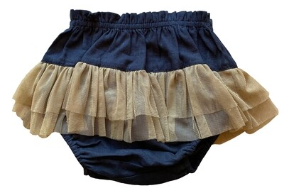 Yo Baby Bloomers - Black with Brown Tulle