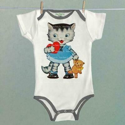 Acme Baby Co. - Heart Kitten Baby Onesie Bodysuit with Trim
