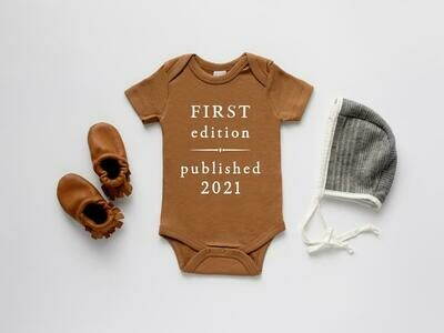 "Glad Folk - ""First Edition Published 2021"" Organic Baby Bodysuit (Burnt Orange)"