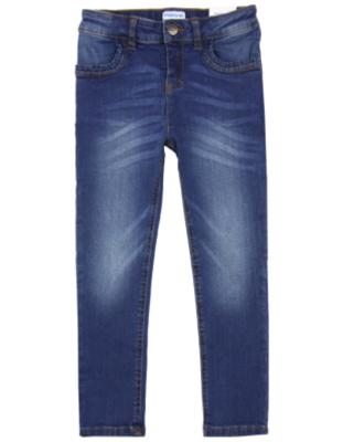 Mayoral Girl's Skinny Denim Pants in Medium Blue with Ruffle Pocket Details