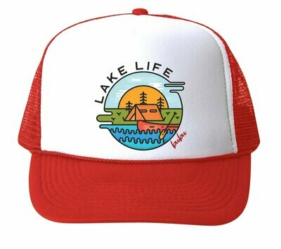 "Bubu ""Lake Life"" Trucker Hat - Red"