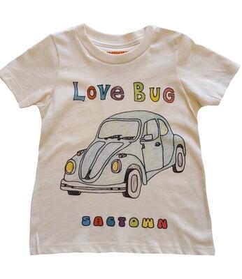 """""""Love Bug Sactown"""" Slug Bug Tee - Natural"""