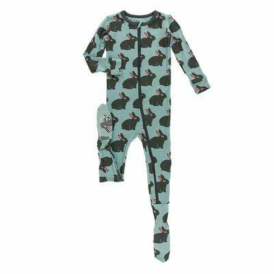 Kickee Pants Print Footie with Zipper - Jade Forest Rabbit