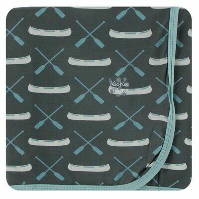 Kickee Pants Print Swaddling Blanket - Stone Paddles and Canoe
