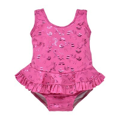 Flap Happy UPF 50+ Stella Infant Ruffle Swimsuit - Fancy Unicorns