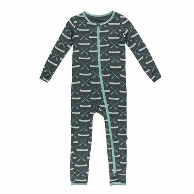 Kickee Pants Print Coverall with Zipper - Stone Paddles and Canoe