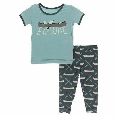 Kickee Pants Short Sleeve Graphic Tee Pajama Set - Stone Paddles and Canoe