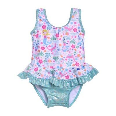 Flap Happy UPF 50+ Stella Infant Ruffle Swimsuit - Mermaid Lagoon