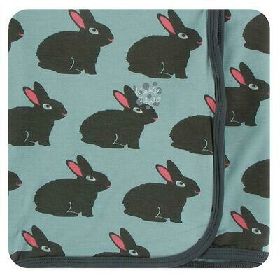 Kickee Pants Print Swaddling Blanket - Jade Forest Rabbit