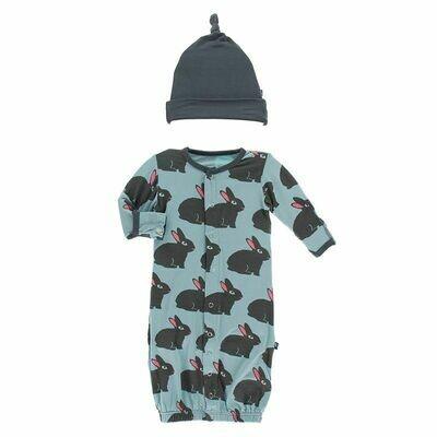 Kickee Pants Print Layette Gown Converter & Single Knot Hat Set - Jade Forest Rabbit